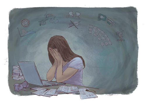 Illustration of an overwhelmed student sitting in front of laptop, her face in her hands. A broken piggy bank, a large stack of papers and a long TODO-list are scattered around the laptop on the desk. In the background above the student, semi-abstract icons symbolize data influx related to COVID-19, financial problems, loss of casual interaction, cancellation of lectures, connectivity problems, loss of productivity, and subsequent demands through emails.
